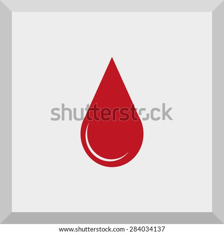 Flat Icon of a drop of blood. Isolated on gray background. Modern vector illustration for web and mobile. - stock vector