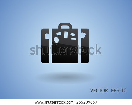 Flat icon of bag - stock vector