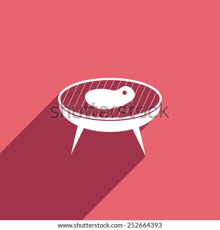 Flat Icon of barbecue steak - stock vector
