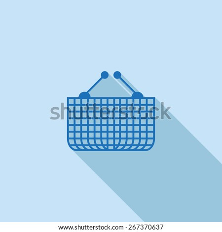 Flat Icon of basket . Isolated on stylish blue background. Element with a long shadow. Modern vector illustration for web and mobile. - stock vector