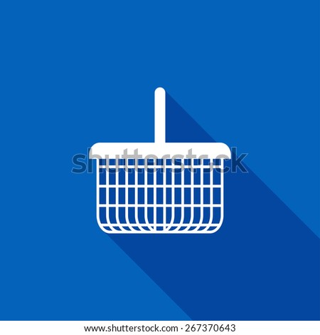 Flat Icon of basket. Isolated on stylish blue background. Element with a long shadow. Modern vector illustration for web and mobile. - stock vector