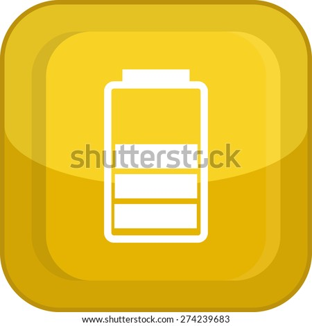 Flat Icon of battery. Isolated on stylish yellow background. Modern vector illustration for web and mobile. - stock vector