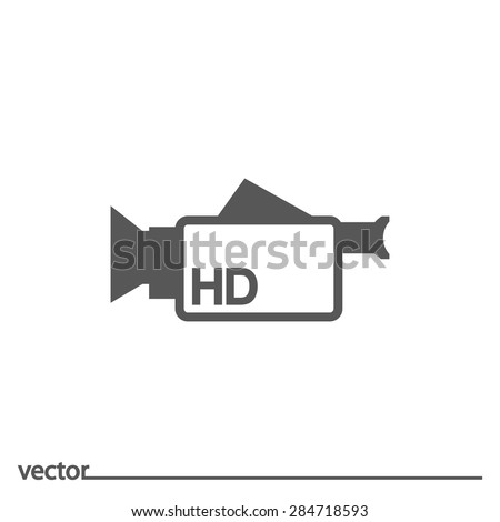Flat Icon of camcorder. Isolated on white background. Modern vector illustration for web and mobile. - stock vector