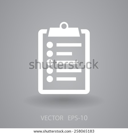 Flat icon of clipboard - stock vector