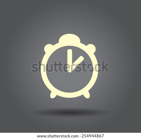 Flat icon of clock - stock vector