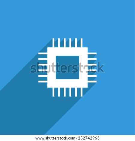 Flat Icon of cpu - stock vector