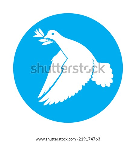 Flat icon of dove of peace with olive branch in its beak - stock vector