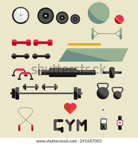 Flat icon of fitness equipment. Fitness elements. Vector fitness set. Fitness woman set. Vector flat design of fitness. Fitness details. Fitness woman. Fitness equipments. Fitness graphic. - stock vector