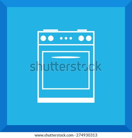 Flat Icon of gas stove. Isolated on stylish blue background. Modern vector illustration for web and mobile. - stock vector