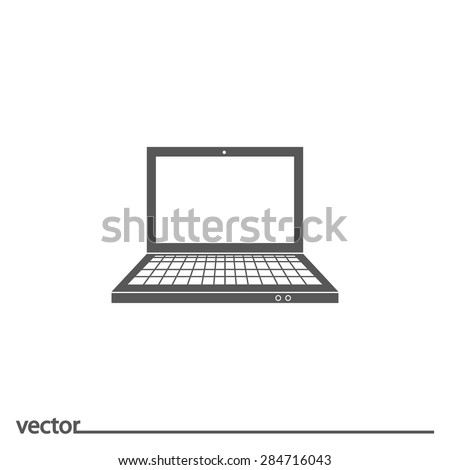 Flat Icon of  laptop. Isolated on white background. Modern vector illustration for web and mobile. - stock vector
