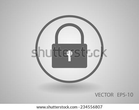 Flat icon of lock - stock vector