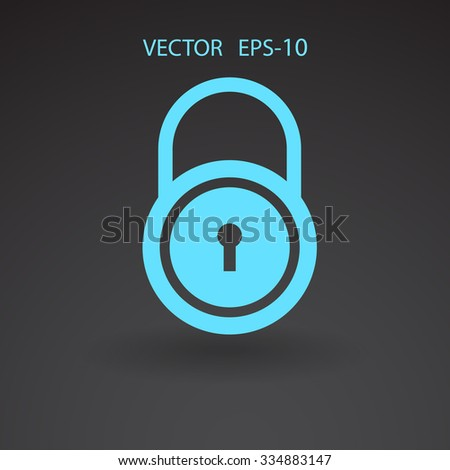 Flat icon of lock - stock vector
