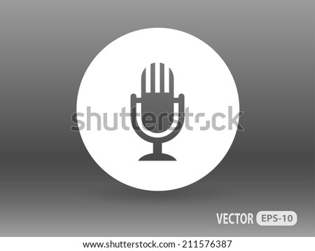 Flat  icon of microphone - stock vector