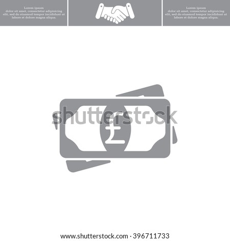 Flat icon of money (sterling) vector icon - stock vector