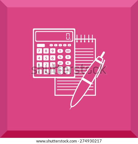 Flat Icon of notebook with pen and calculator. Isolated on stylish pink background. Modern vector illustration for web and mobile. - stock vector