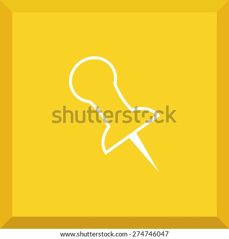 Flat Icon of pushpin. Isolated on stylish yellow background. Modern vector illustration for web and mobile. - stock vector