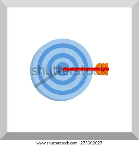 Flat Icon of target with arrow. Isolated on white background. Modern vector illustration for web and mobile. - stock vector