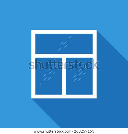 Flat Icon of window . Isolated on stylish blue background. Element with a long shadow. Modern vector illustration for web and mobile. - stock vector