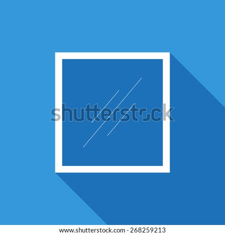 Flat Icon of window. Isolated on stylish blue background. Element with a long shadow. Modern vector illustration for web and mobile. - stock vector