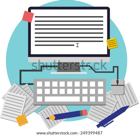 Flat icon on copy-writing. Computer screen with word processor, text, documents, articles, pen, keyboard. White background. Flat style infographic. Modern flat icon for website - stock vector