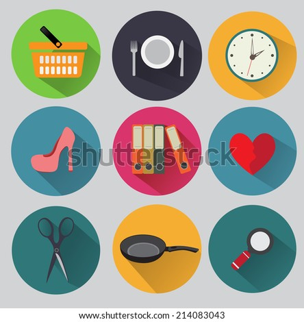 Flat icon set - stock vector