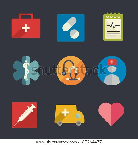 Flat icon set. Medicine. - stock vector