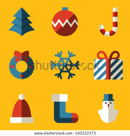 Flat icon set. Merry Christmas - stock vector