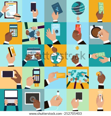 Flat icon set of business and bargain processes . Human hands holding credit cards, cutaway, pen. Human hands to show world Map, signs the document, mark on the calendar. Vector EPS10 - stock vector