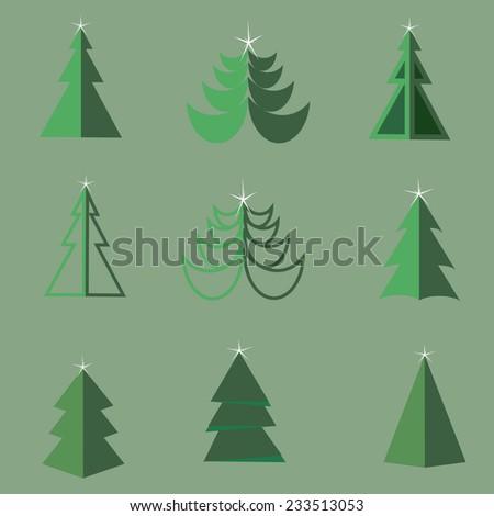 Flat icon set of Christmas trees. Winter trees in flat style. Illustration of Christmas trees. 9 different Christmas trees in flat style.  - stock vector