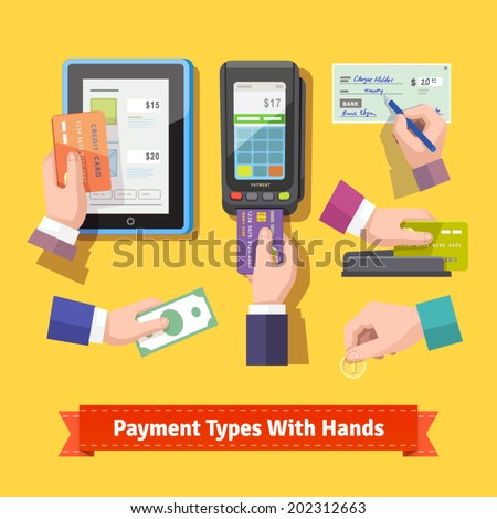 Flat icon set of payment types. Human hands holding credit cards, cash, coins, writing check, paint at POS. EPS 10 vector. - stock vector