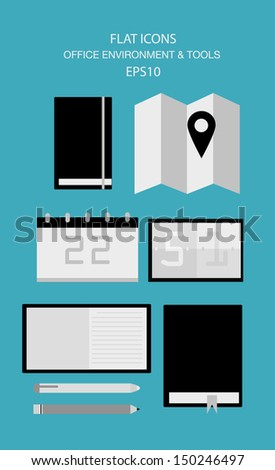 Flat Icon Set . Office - Vector - stock vector