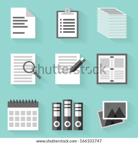 Flat icon set. Paper. White style - stock vector