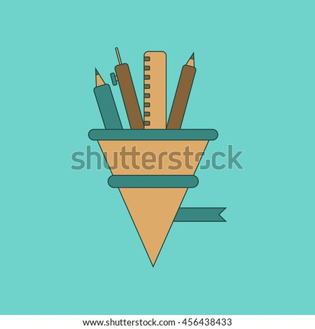 flat icon thin lines pencil pen ruler - stock vector