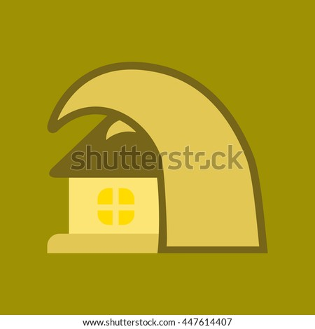 flat icon tsunami house - stock vector