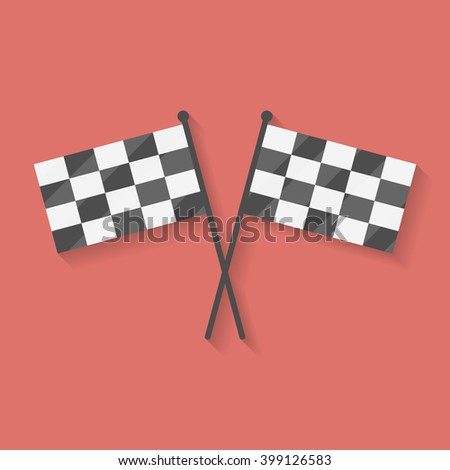 Flat icon two crossed racing, competition or finish flags. Flag symbol, Flag element, Flag sign, vector Flag, Flag picture, Flag illustration, isolated Flag, image Flag, silhouette Flag, Flag design - stock vector