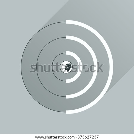 Flat icon with long shadow Globe internet - stock vector