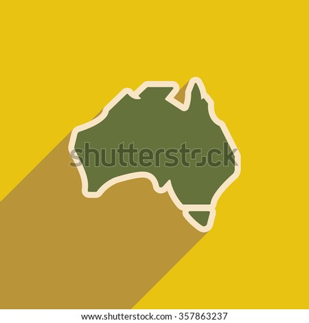 flat icon with long shadow map of Australia - stock vector