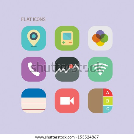 Flat icons - stock vector