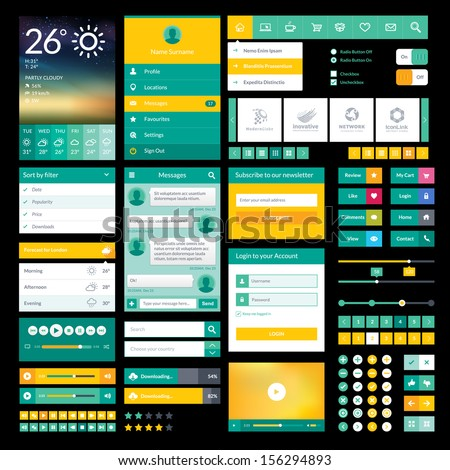 Flat icons and elements for mobile app and web design - stock vector