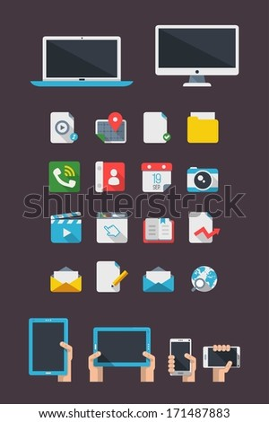 flat icons and mock ups, vector set - stock vector
