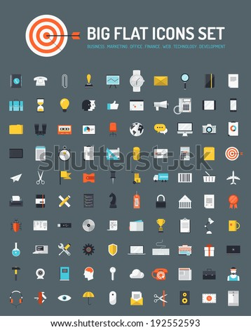 Flat icons big set of business and marketing objects, office and working equipment, communication and technology items, finance and internet commerce pictogram. Modern design vector symbol collection. - stock vector