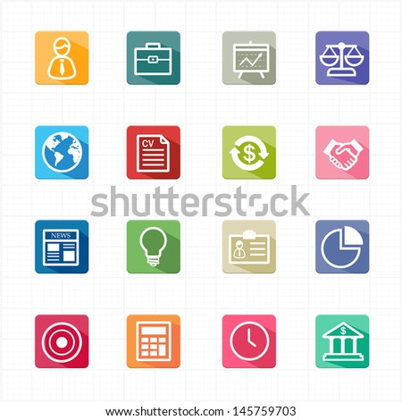 Flat icons business finance and white background - stock vector
