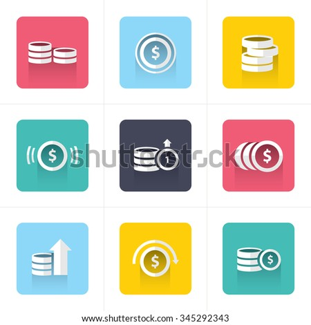 flat icons Coins Icons Set - stock vector