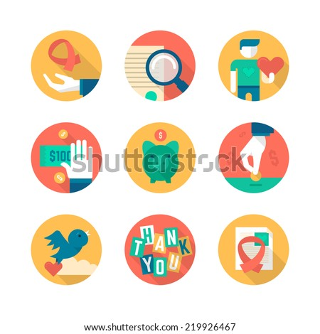 Flat icons collection of charity in business, giving help to non-profit, donating and fund raising. Part 1 - stock vector