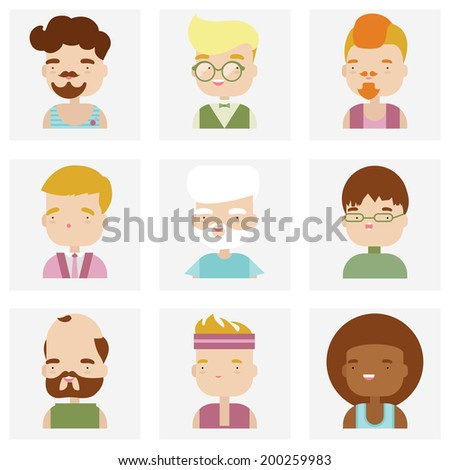 Flat icons collection of various male people characters in cute kawaii style. Modern design vector illustration set.  Isolated on white background.  - stock vector