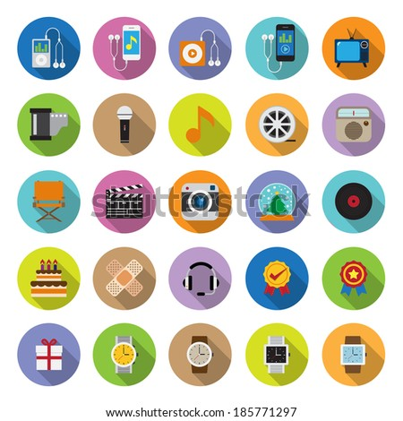 flat icons collection with long shadow . Set 3 . Gadget & Entertainment - stock vector