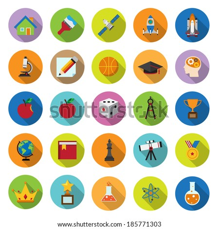 flat icons collection with long shadow . Set 8 . Science and education . Elements of this image furnished by NASA - stock vector