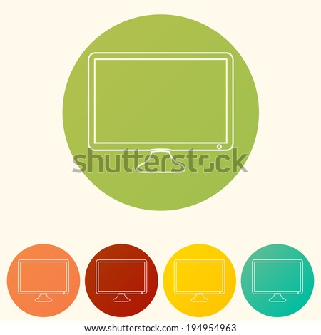 Flat icons. Computer monitor - stock vector