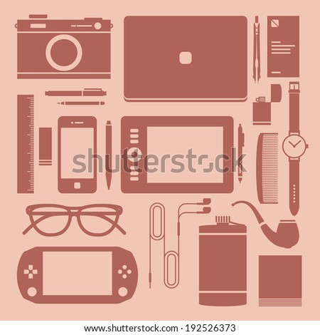 Flat icons, design devices and workplace. Graphic designer desktop - stock vector