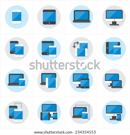 Flat Icons Device Icons and Responsive Web Design Icons Vector Illustration - stock vector